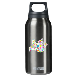 White Dove of flowers Insulated Water Bottle