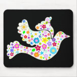 White Dove of Flowers Mouse Pad