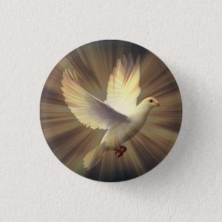 White Dove of Peace. 3 Cm Round Badge