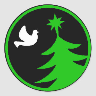 White Dove of Peace Green Christmas Tree Stickers