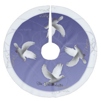 White Dove on Periwinkle Christmas Tree Skirt Brushed Polyester Tree Skirt