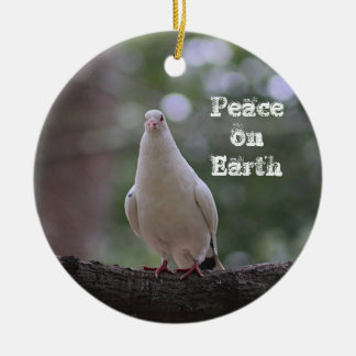 White Dove Round Ceramic Decoration