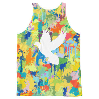 White Dove Shape Colorful Splash All-Over Print Tank Top