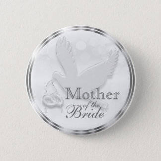 White Dove with Wedding Rings 6 Cm Round Badge