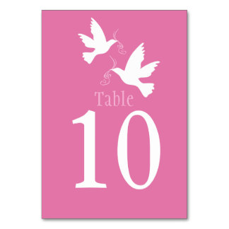 White doves bird wedding pink event table number table cards
