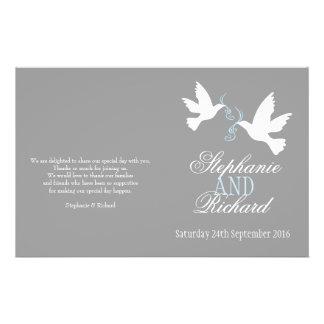 White doves blue ribbon grey Wedding Programme