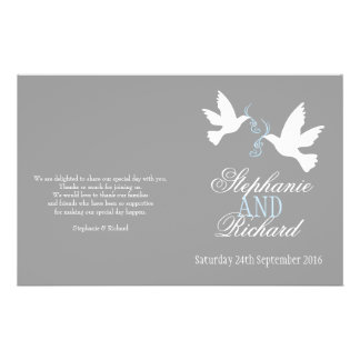White doves blue ribbon grey Wedding Programme 14 Cm X 21.5 Cm Flyer
