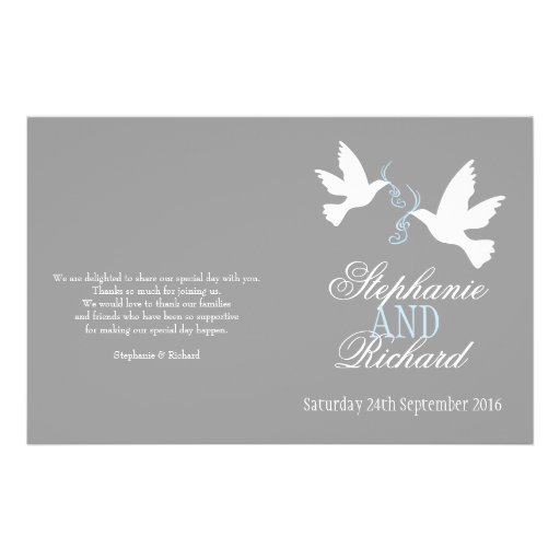 White doves blue ribbon grey Wedding Programme Personalized Flyer