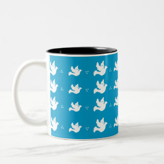 White Doves on Blue Background Mug
