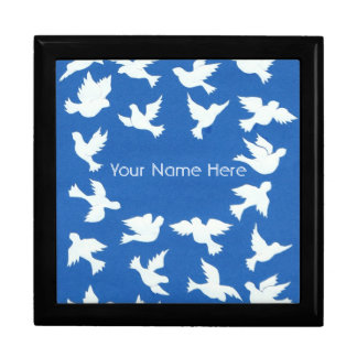 White Doves on Sky Blue Gift Box