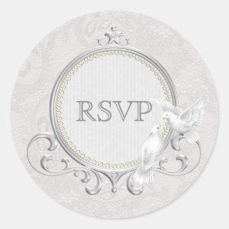 White Doves & Paisley Lace RSVP Wedding Round Sticker