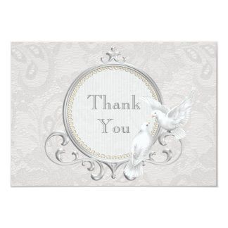 White Doves & Paisley Lace Thank You Wedding Personalized Invite