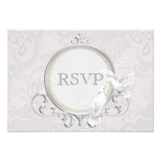 White Doves Paisley Lace Wedding RSVP Invites