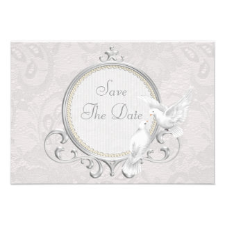 White Doves Pearls Paisley Lace Save The Date Personalized Invite