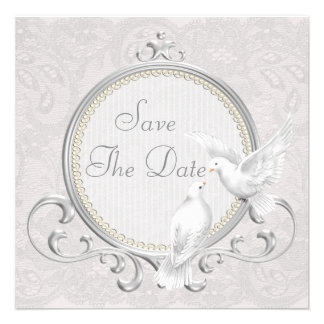 White Doves Pearls Paisley Lace Save The Date Custom Invitation