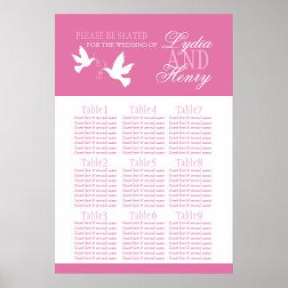 White doves pink wedding seating table plan 1-9 poster