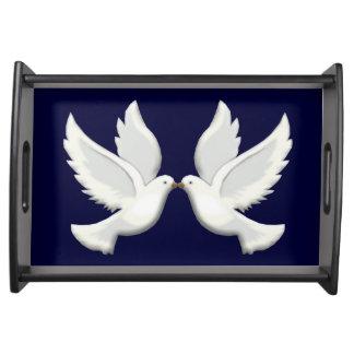 White Doves Serving Tray