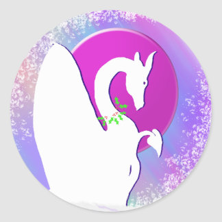 White Dragon Moon Holiday (Colorful Haze) Round Sticker