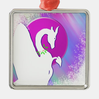 White Dragon Moon Holiday (Colorful Haze) Silver-Colored Square Decoration