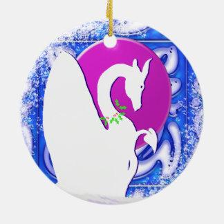 White Dragon Moon I Holiday (Blue Ornament) Round Ceramic Decoration