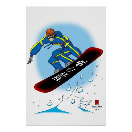 White Dragon Snowboarder Poster