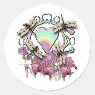 White Dragonflies Classic Round Sticker