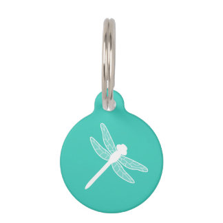 White Dragonfly Silhouette On Turquoise Pet ID Tag