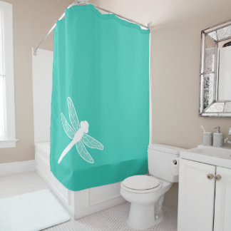 White Dragonfly Silhouette On Turquoise Shower Curtain