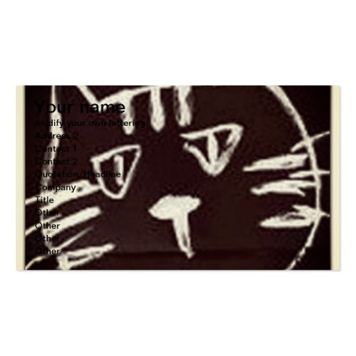 white drawing on black sketch of a cat business card