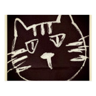 white drawing on black sketch of a cat postcard