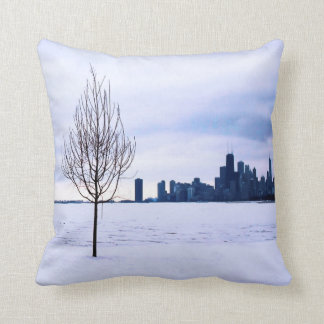 White dream - winter in Chicago, cotton pillows