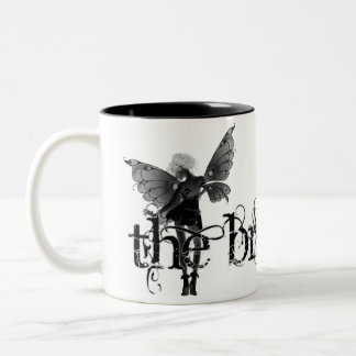 White Dress Fairy B&W Negative - The Bride Two-Tone Coffee Mug
