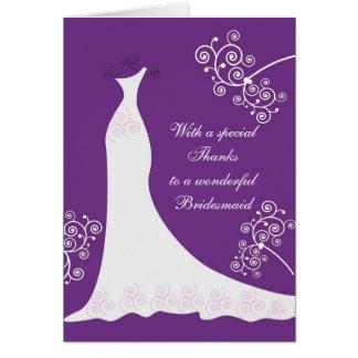 White dress, swirls on purple Wedding Thank You Card