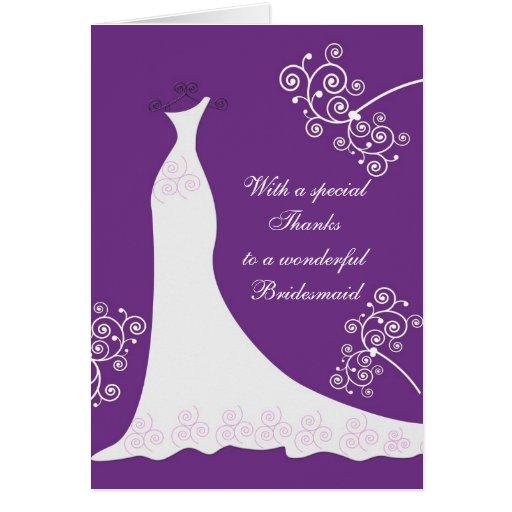 White dress, swirls on purple Wedding Thank You Greeting Card