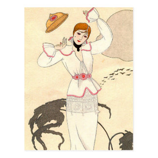 White Dress with Rose Belt by George Barbier Postcard