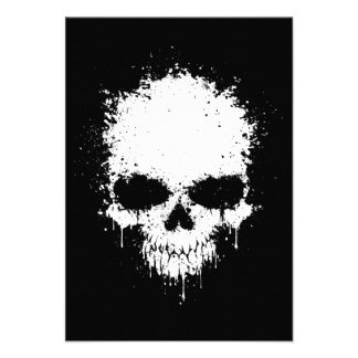 White Dripping Splatter Skull Personalized Invitation