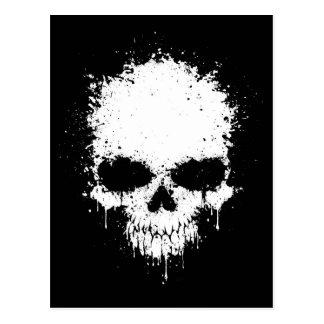 White Dripping Splatter Skull Postcard