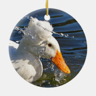 White Duck And Water Droplets Christmas Ornament