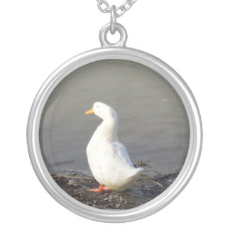 White Duck at Edge of Lake Round Pendant Necklace
