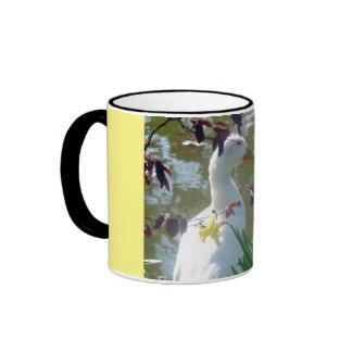 White Duck In Daffodils Mug Ringer Mug