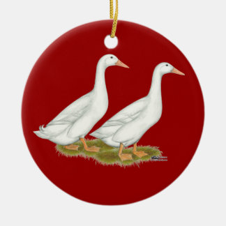 White Ducks Christmas Ornament
