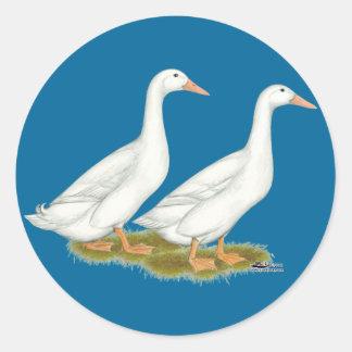 White Ducks Classic Round Sticker