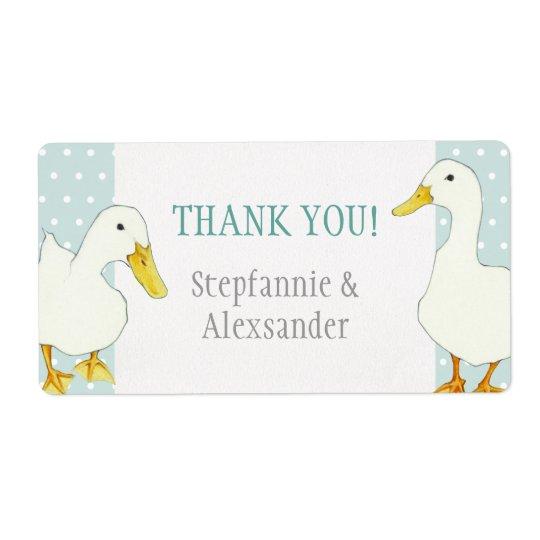White Ducks dots Wedding Thank You Sticker