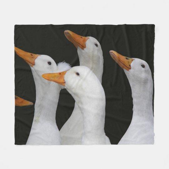 White Ducks Photo Medium Fleece Blanket