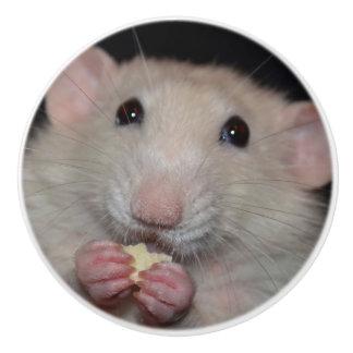 White Dumbo Rat Dresser Knob