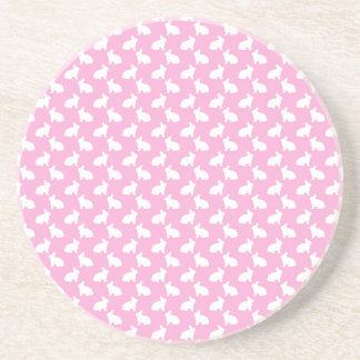 White Easter Bunnies on Pink Drink Coasters