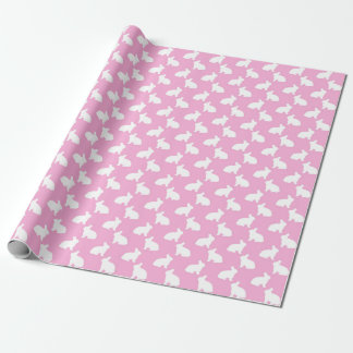 White Easter Bunnies on Pink Wrapping Paper