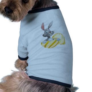 White Easter Bunny in Egg Ringer Dog Shirt
