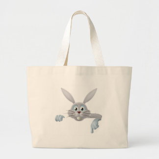 White Easter bunny pointing down Canvas Bag