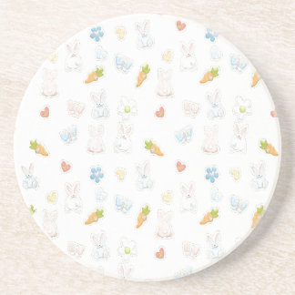 White Easter Pattern Drink Coaster